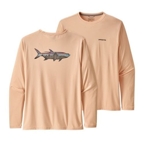LS Capilene Cool Daily Fish Graphic Shirt Sketched Fitz Roy Tarpon: Light Peach Sherbet (STLP)