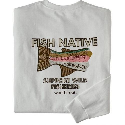 M's LS Native World Trout Responsibili-Tee White (WHI)